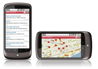 CIBC locations on the Android